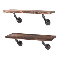 Restore Trail Brown 24 in. Shelves with Angled Brackets - Pipe Decor