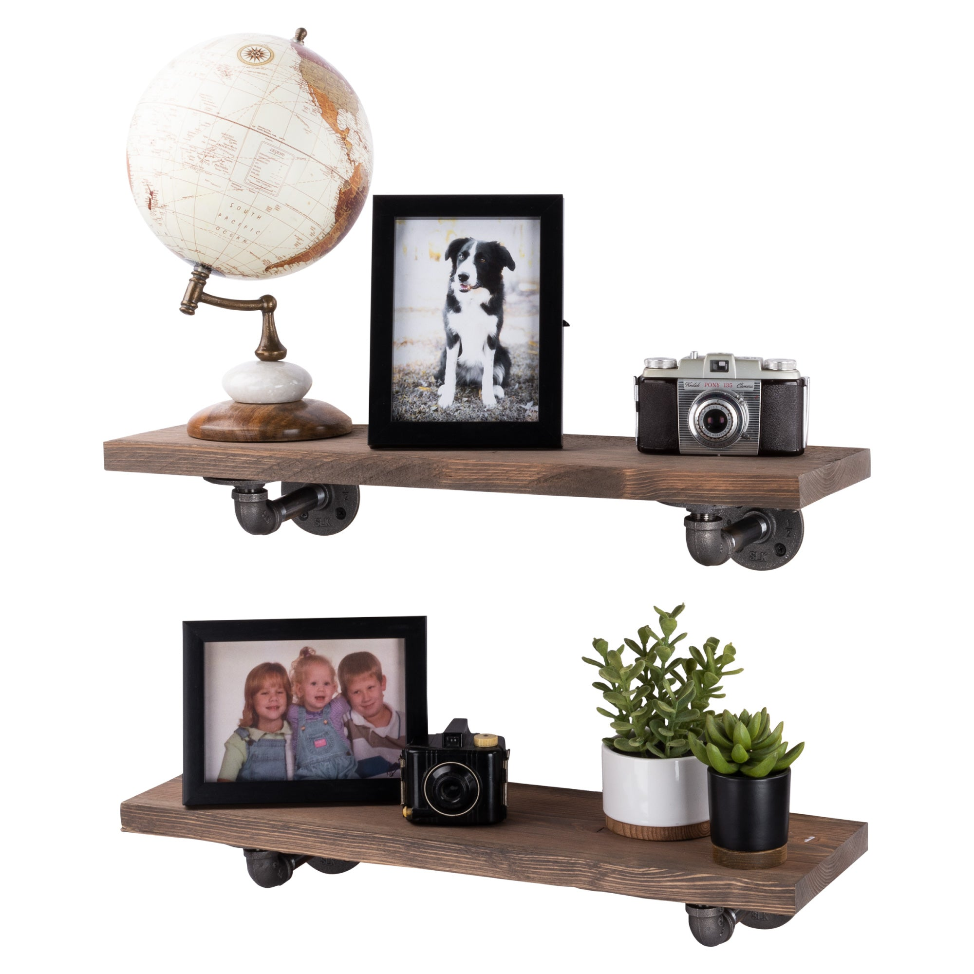 Restore Sunset Brown 24 in. Shelves with L-Shaped Brackets - Pipe Decor