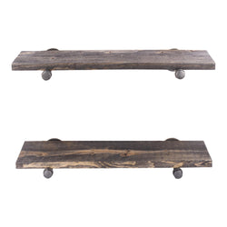 Restore Boulder Black 24 in. Shelves with Straight Brackets - Pipe Decor
