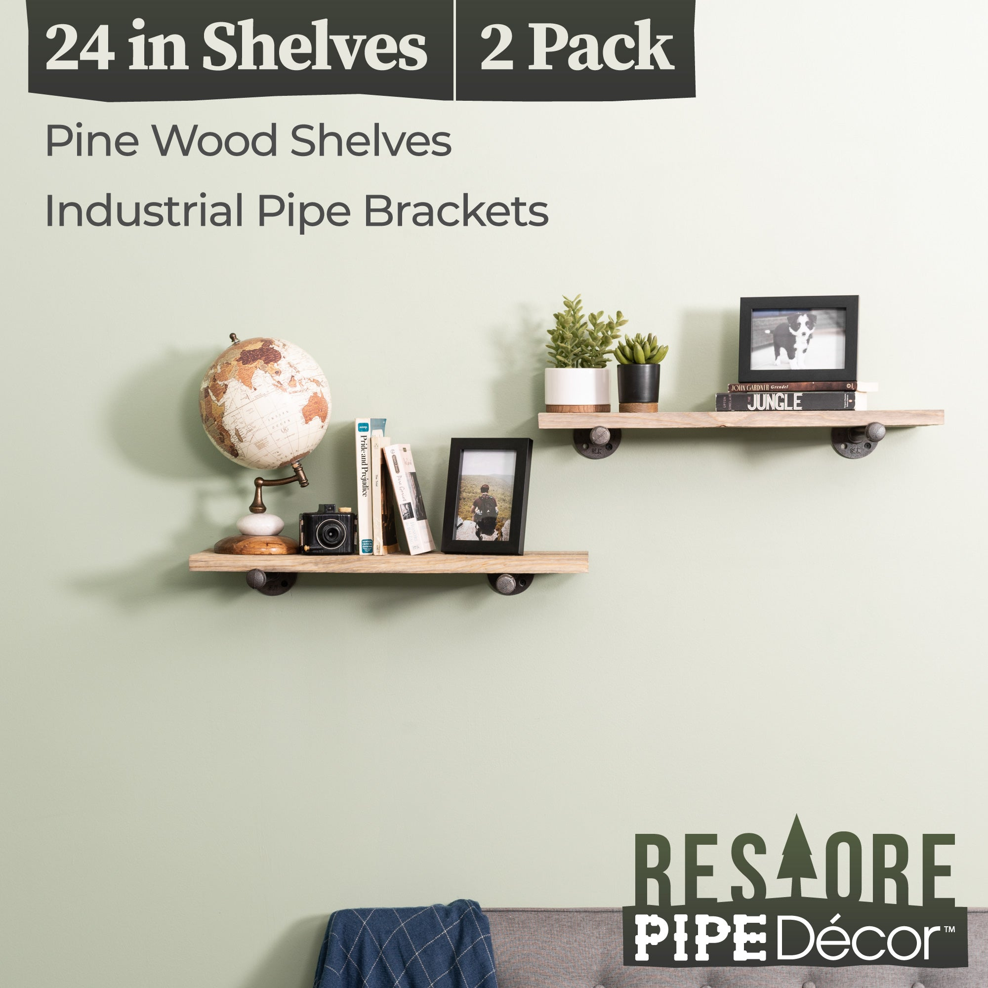 Restore Driftwood Tan 24 in. Shelves with Straight Brackets - Pipe Decor