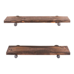 Restore Trail Brown 24 in. Shelves with Straight Brackets - Pipe Decor