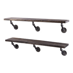 Restore Boulder Black 36 in. Shelves with Angled Brackets - Pipe Decor