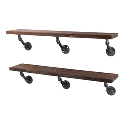 Restore Trail Brown 36 in. Shelves with Angled Brackets - Pipe Decor