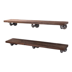 Restore Trail Brown 36 in. Shelves with L-Shaped Brackets - Pipe Decor