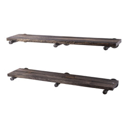 Restore Boulder Black 36 in. Shelves with Straight Brackets - Pipe Decor