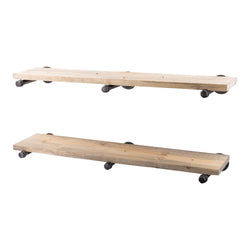 Restore Driftwood Tan 36 in. Shelves with Straight Brackets - Pipe Decor