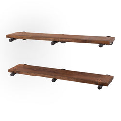 Restore Autumn Brown 36 in. Shelves with Straight Brackets - Pipe Decor