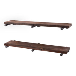 Restore Trail Brown 36 in. Shelves with Straight Brackets - Pipe Decor