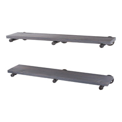 Restore Riverstone Grey 36 in. Shelves with Straight Brackets - Pipe Decor