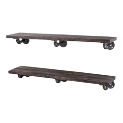 Restore Boulder Black 36 in. Shelves with L-Shaped Brackets - Pipe Decor