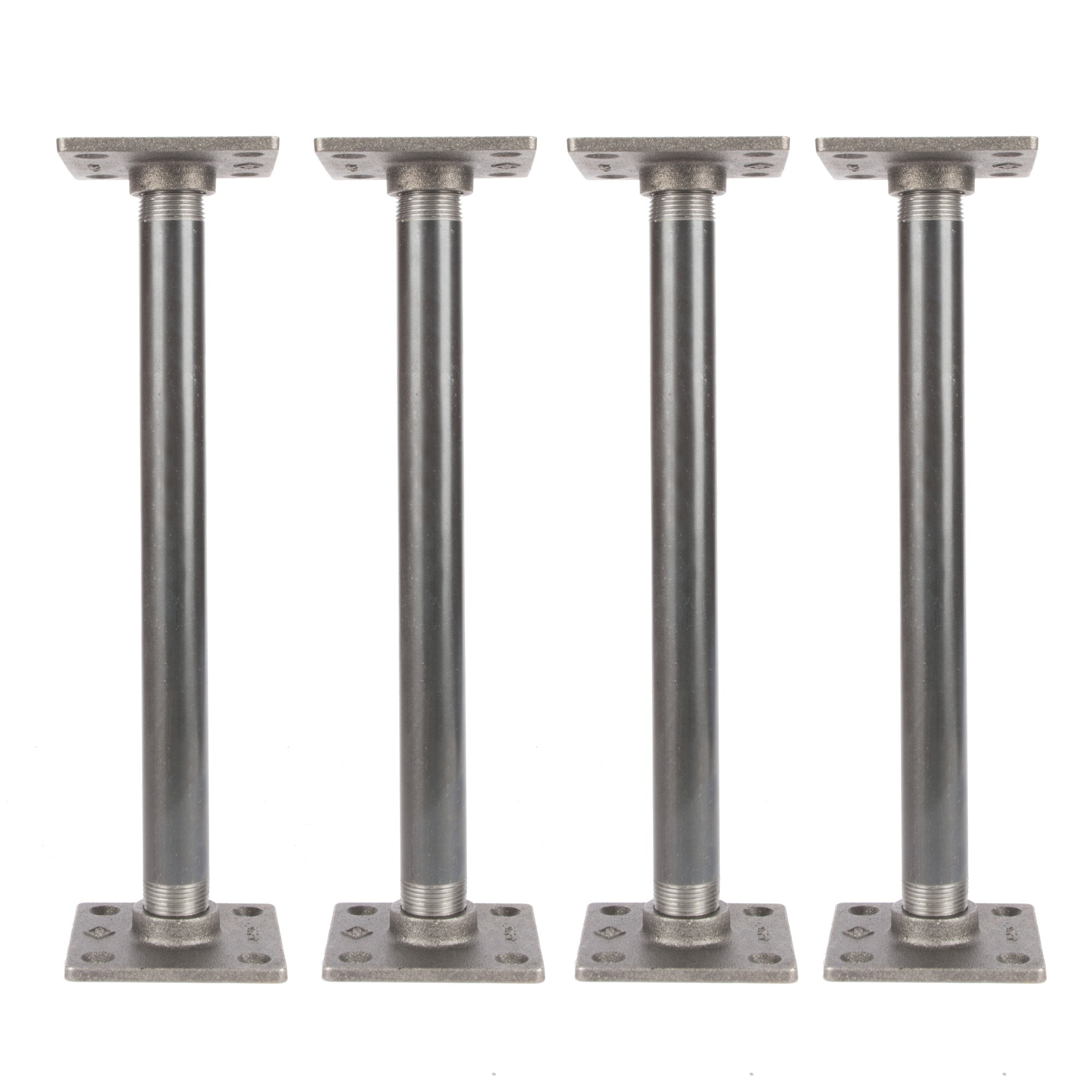 3/4 In  X 12 In  Square Flange Pipe Table Legs - 4 Pack