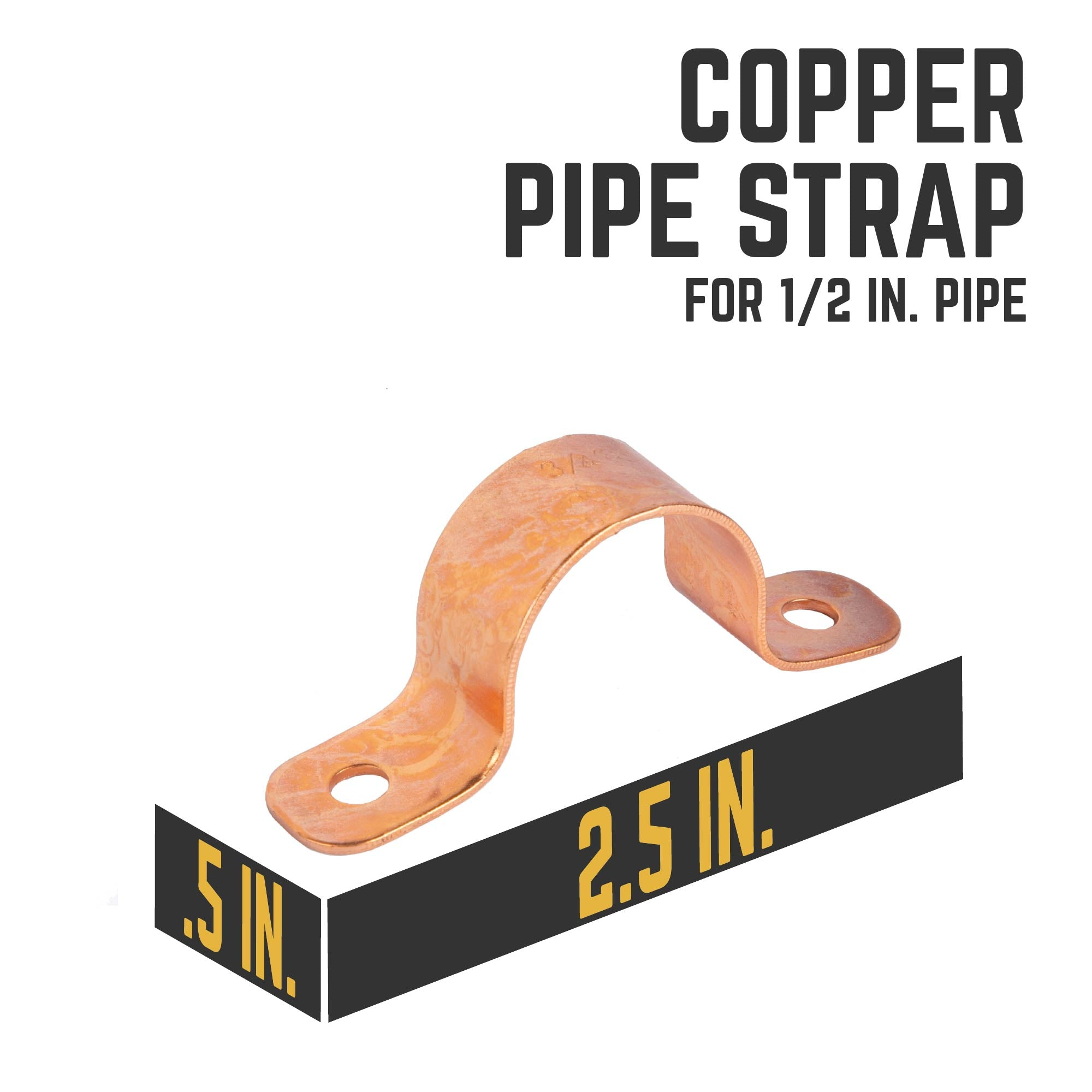 Copper Pipe Strap for 1/2 in. Pipe - Pipe Decor