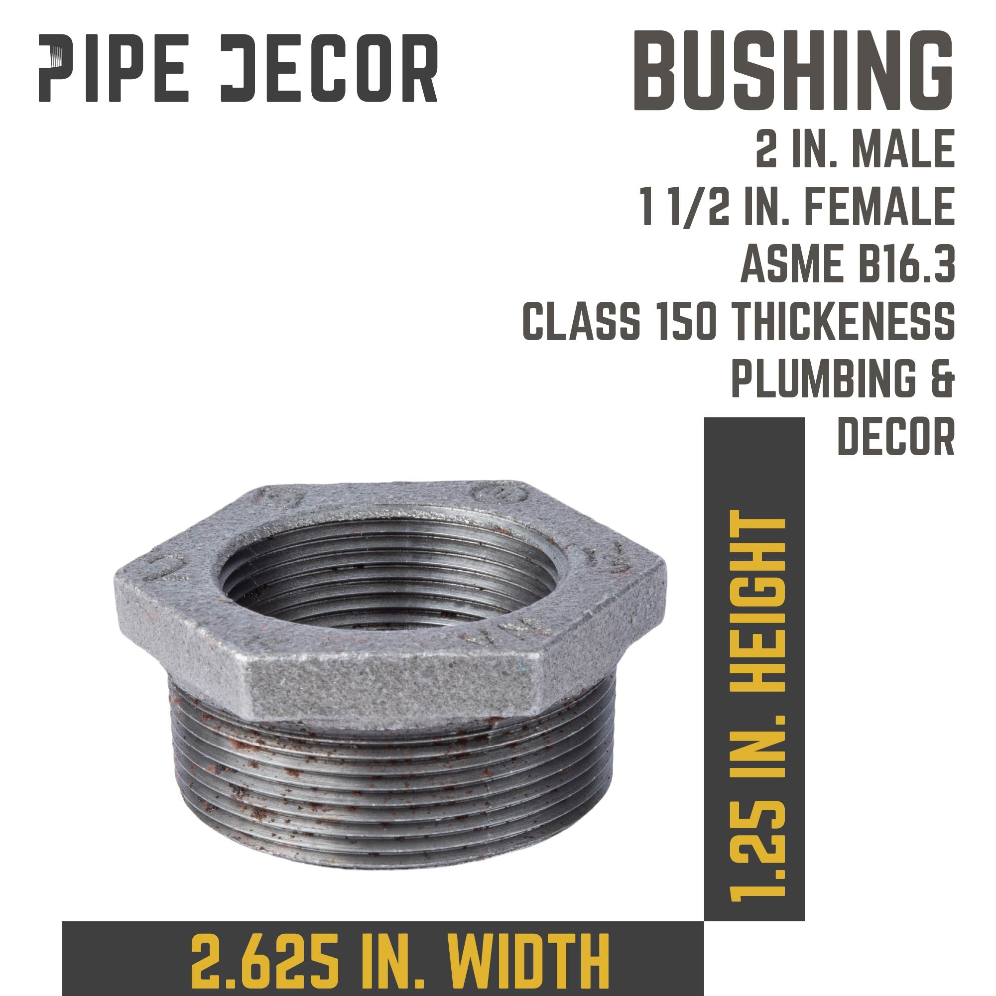 2 in. X 1 1/2 in.  Black Bushing - Pipe Decor