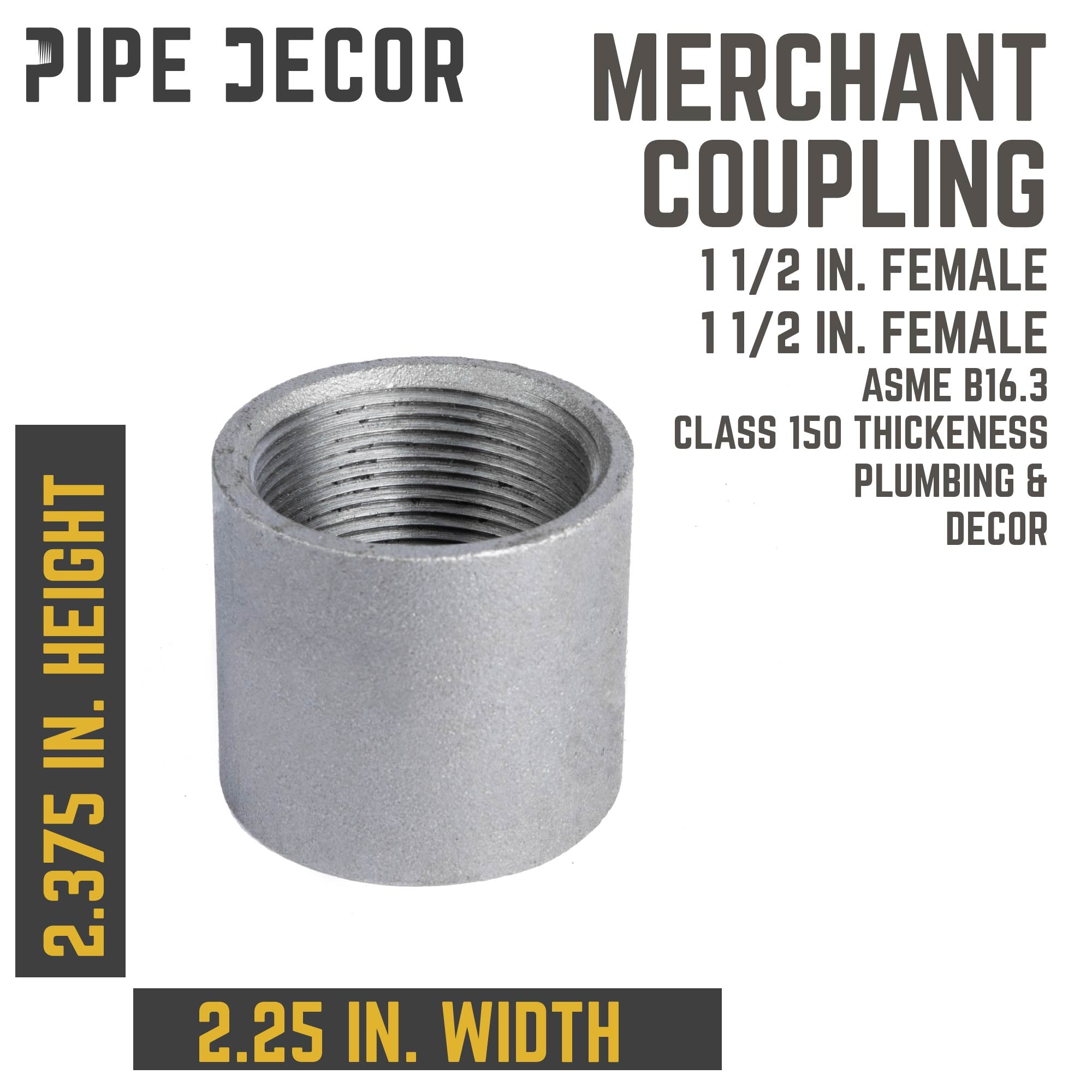 1 1/2 in.  Black merch coupling - Pipe Decor
