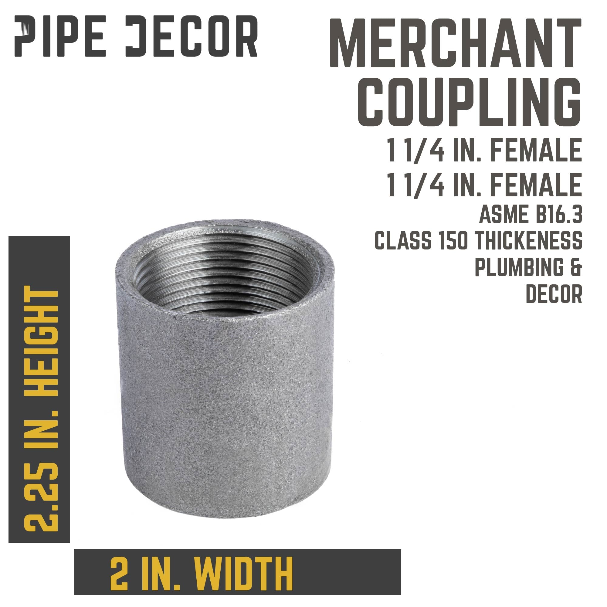 1 1/4 in. Black merchant coupling - Pipe Decor