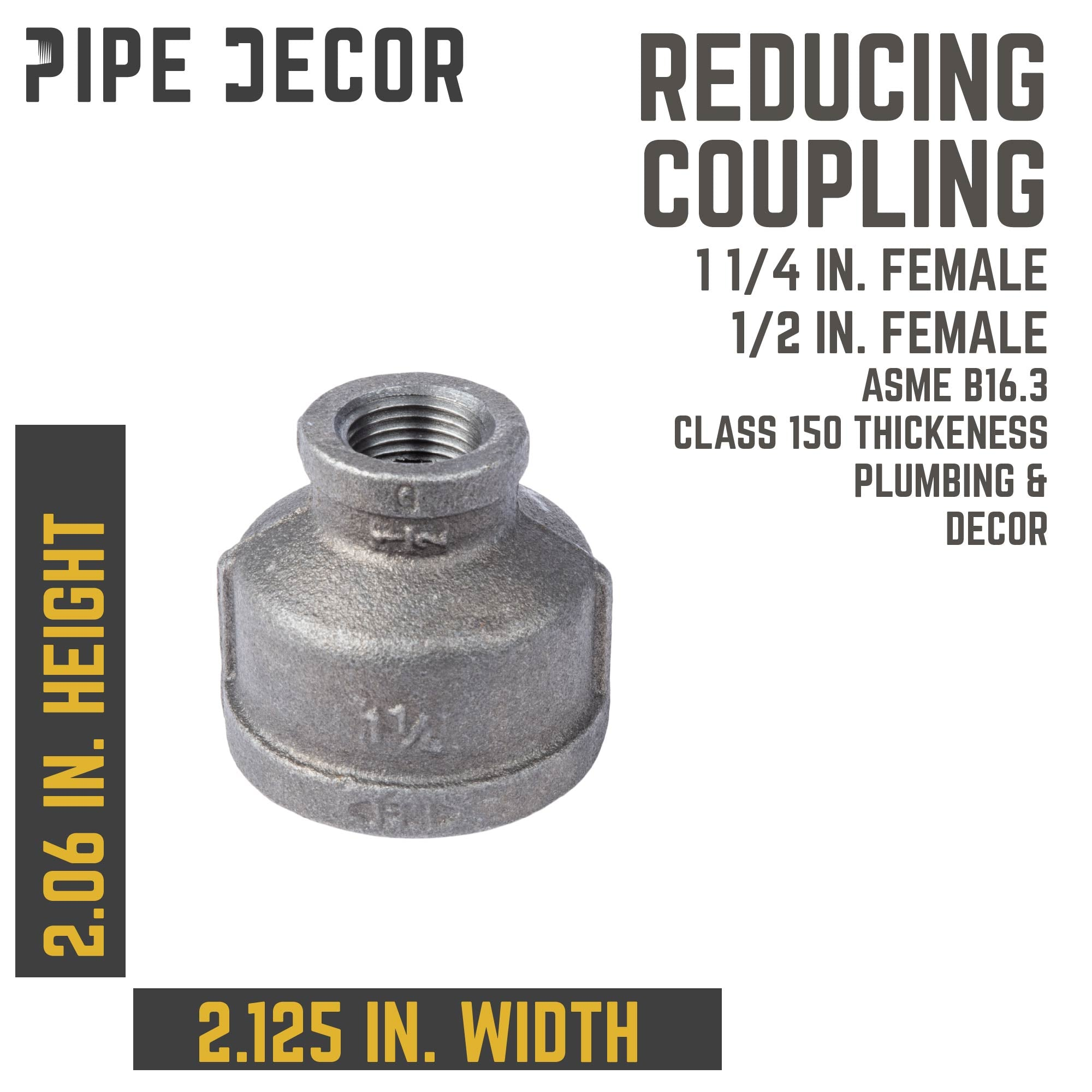 1 1/4 in. X 1/2 in. Black Reducing Coupling - Pipe Decor