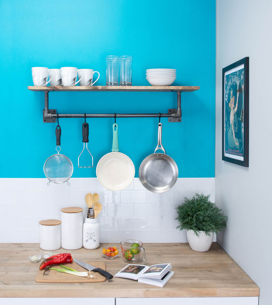 Pipe kitchen shelf and rack