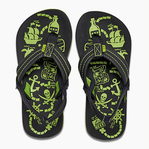 Reef Kid Ahi Glow Glow Green Glow 4/5 Kids Size