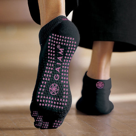 Gaiam Socks Grippy Black Pink Dots Small / Medium