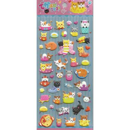 BC USA Cats Puffy Stickers