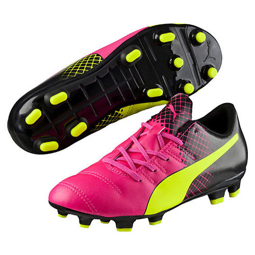 Puma Kids Evo Tricks FG Jr Pink Glo Safety Yellow 5.5
