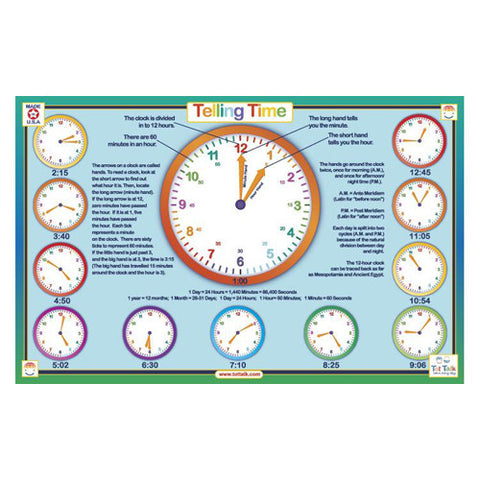 Tot Talk Telling Time Placemat