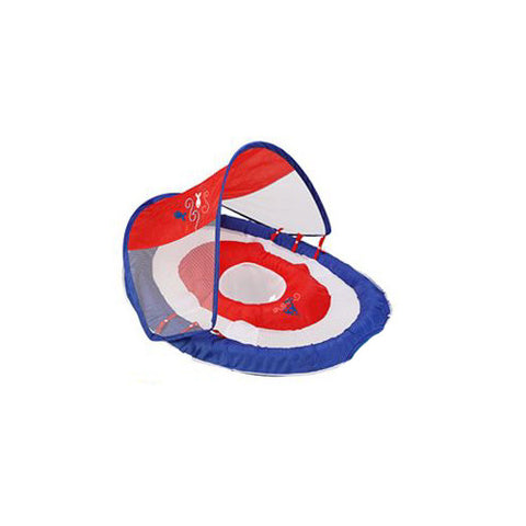 SwimWays Baby Spring Float Sun Canopy Blue Red Sail Boat