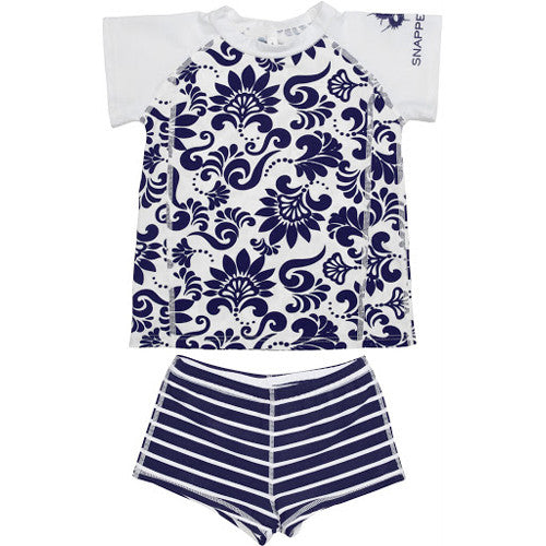 SnapperRock Rash+Boy Short Navy Brocage 10