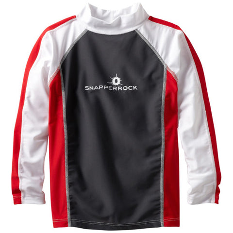 SnapperRock LS Rashguard Red/Black/White 12