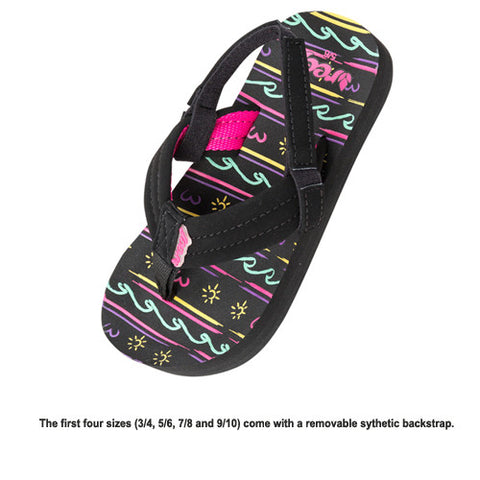 Reef Kids Lil Ahi Black Waves 13/1 Kids Size