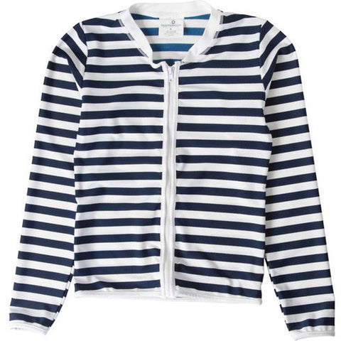 SnapperRock Navy/White L/S Zip Rash 06