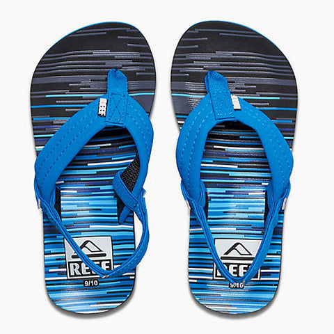 Reef Kids Ahi Sandal Blue Lines 3/4 Below One