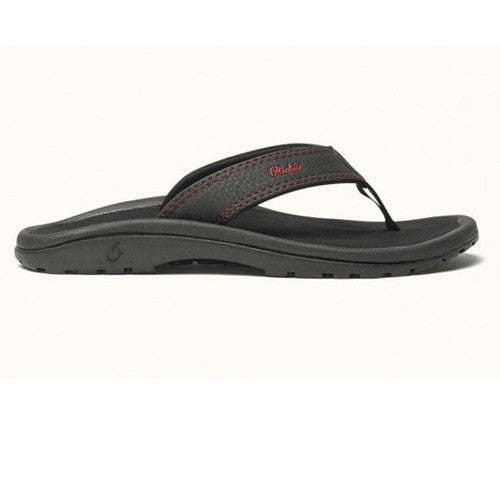 Olukai Boys Ohana EG Black Sour Cherry 4/5 Kids Size