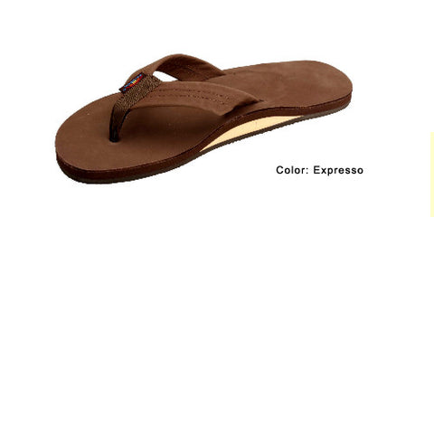 Rainbow Mens Leather Wide Strap Sandal Expresso Medium