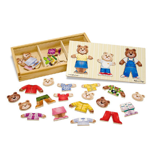 M&D Wooden Bear Family Dress Up Puzzle
