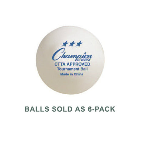 Champion Table Tennis Balls 3-Star 6Pk W