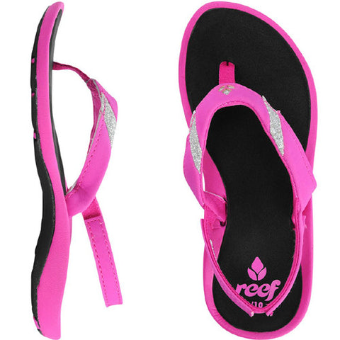 Reef Little Splash of Stars Black Hot Pink 2/3 Kids Size
