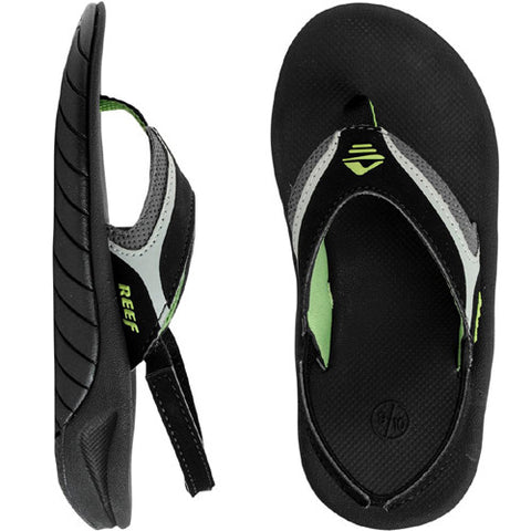 Reef Kids Slap II Sandal Black Green 4/5 Kids Size