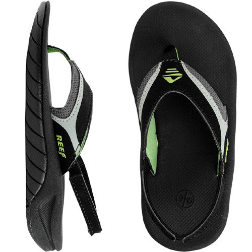 Reef Kids Slap II Sandal Black Green 9/10 Below One