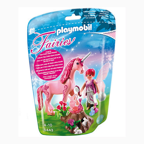 Playmobil Care Fairy w/Unicorn Rose Red