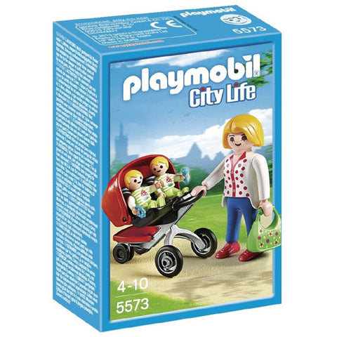 Playmobil Mother with Twin Stroller