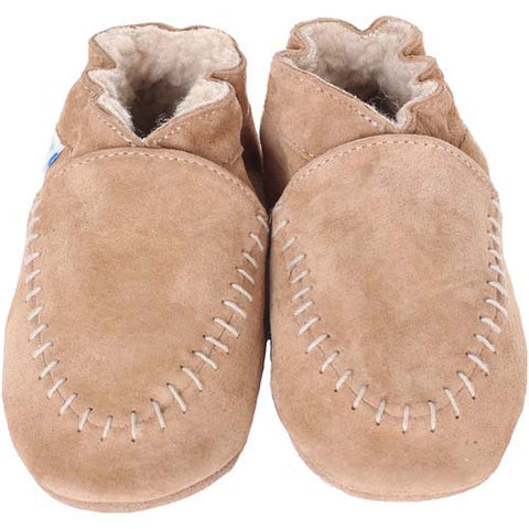 Robeez Boys Cozy Moccasin Taupe Taupe 0-6 Months