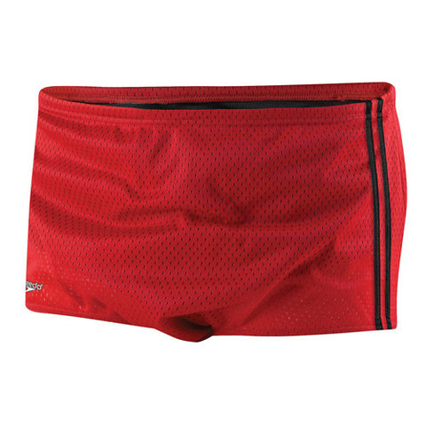 Speedo Mesh Trainer Square Leg Swimsuit Red 30