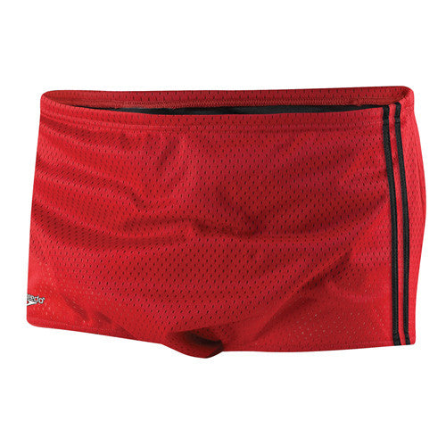 Speedo Mesh Trainer Square Leg Swimsuit Red 34