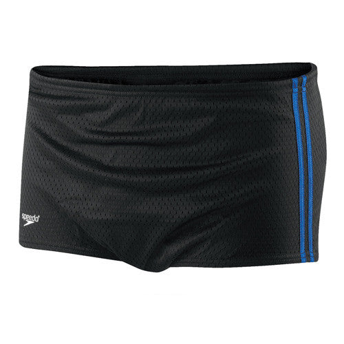 Speedo Mesh Trainer Square Leg Swimsuit Black/Blue 30