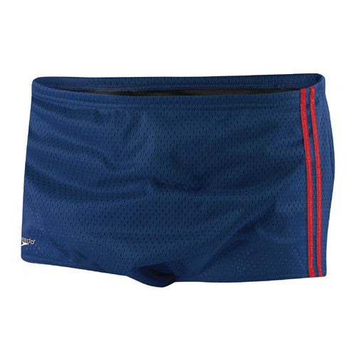 Speedo Mesh Trainer Square Leg Swimsuit Navy/Red 36
