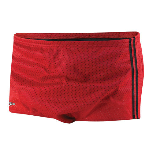 Speedo Mesh Trainer Square Leg Swimsuit Red 32