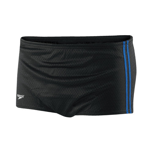 Speedo Mesh Trainer Square Leg Swimsuit Black/Blue 28