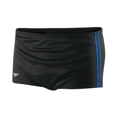 Speedo Mesh Trainer Square Leg Swimsuit Black/Blue 38