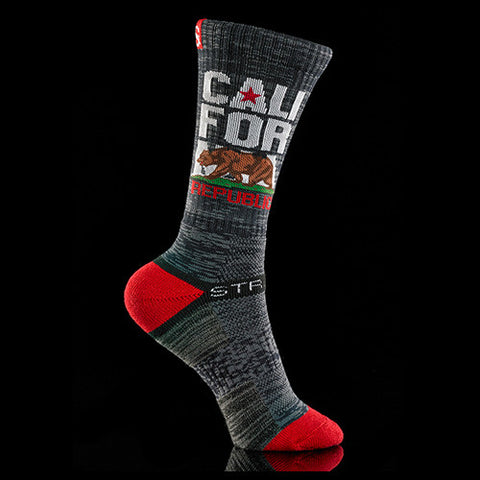 Strideline Socks California One Size Charcoal Red